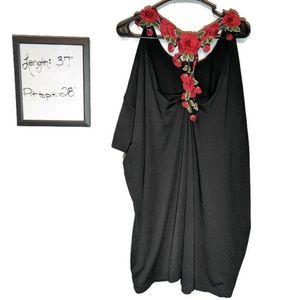 Shein Flower Cascade Back Black Dress Short Sleeve
